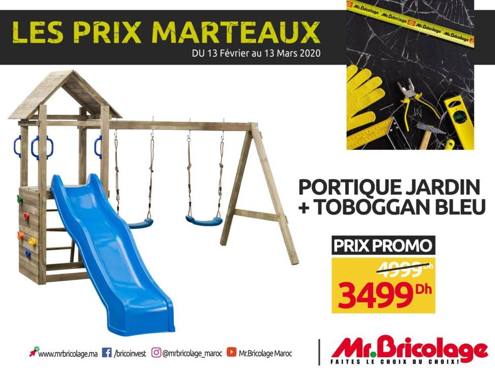 Soldes MR Bricolage Maroc Portique Jardin + Toboggan 3499Dhs au lieu de 4999Dhs