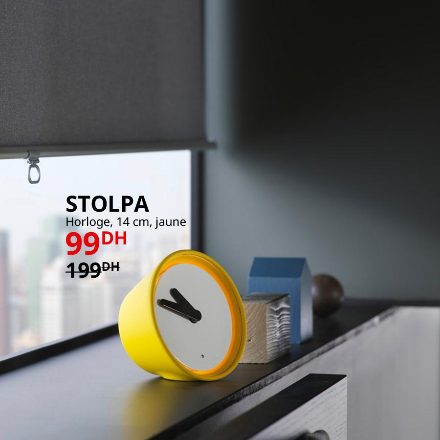 Soldes Ikea Maroc Horloge Jaune STOLPA 99Dhs au lieu de 199Dhs