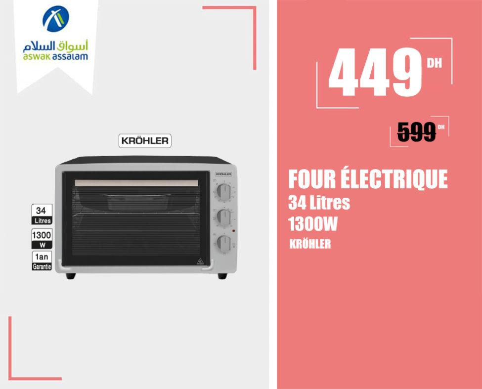 Soldes Aswak Assalam FOUR ÉLECTRIQUE 34L KROHLER 449Dhs au lieu de 599Dhs