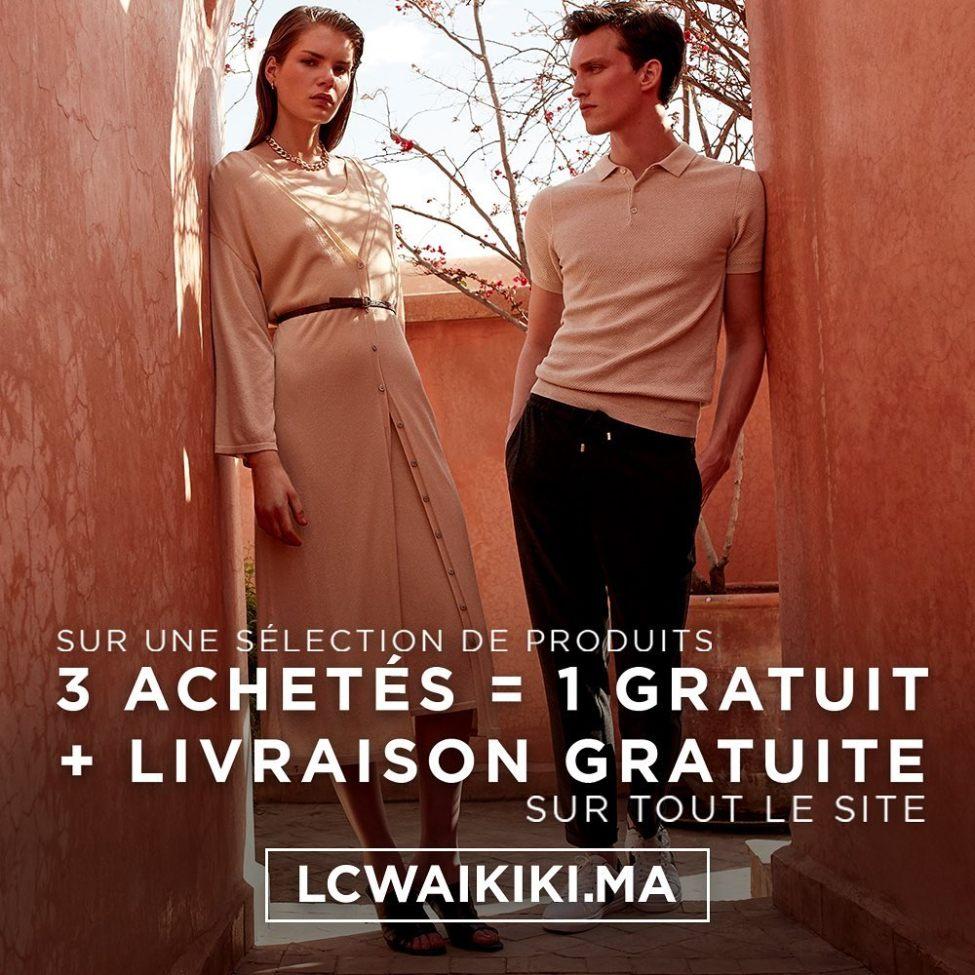 Offre en ligne LC Waikiki Maroc 3 Achetés = 1 Gratuit + livraison gratuite