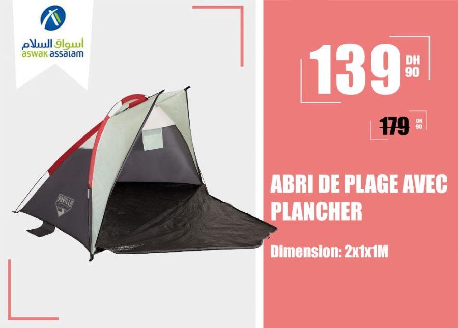 Soldes Aswak Assalam ABRI DE PLAGE AVEC PLANCHER 2x1x1M 139Dhs au lieu de 179Dhs