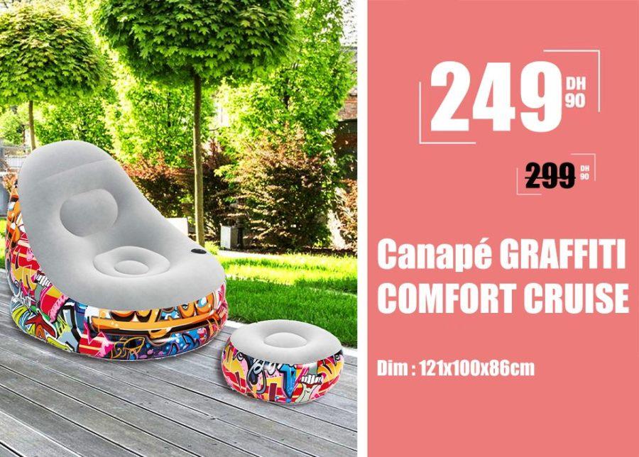 Soldes Maroc Canapé GRAFFITI COMFORT CRUISE 249Dhs au lieu de 299Dhs