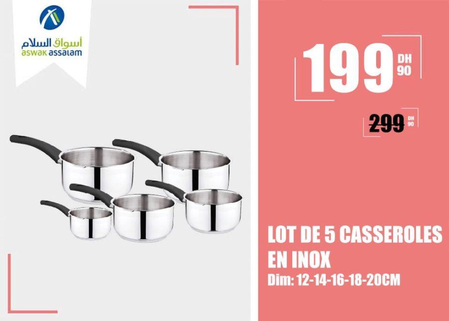 Soldes Aswak Assalam LOT DE 5 CASSEROLES EN INOX 199Dhs au lieu de 299Dhs