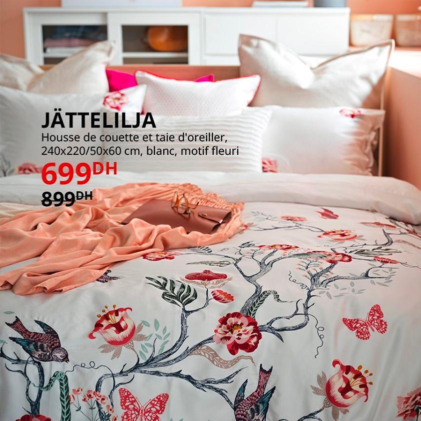 Soldes Ikea Maroc Housse de couette et taie d'oreiller 699Dhs au lieu de 899Dhs
