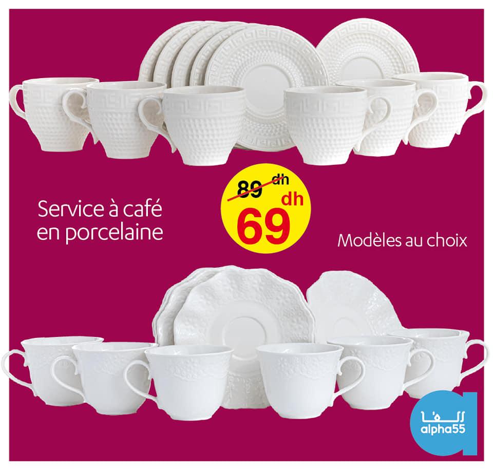 Soldes Alpha55 Service à café en porcelaine 69Dhs au lieu de 89Dhs