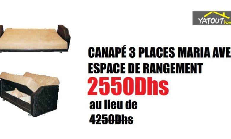 Photo of Soldes Yatout Home CANAPÉ 3 PLACES MARIA AVEC ESPACE DE RANGEMENT 2550Dhs au lieu de 4250Dhs