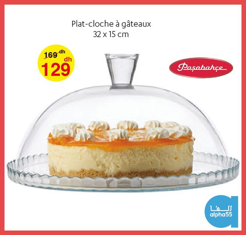 Soldes Alpha55 Plat-cloche à gâteaux 32x15cm 129Dhs au lieu de 169Dhs