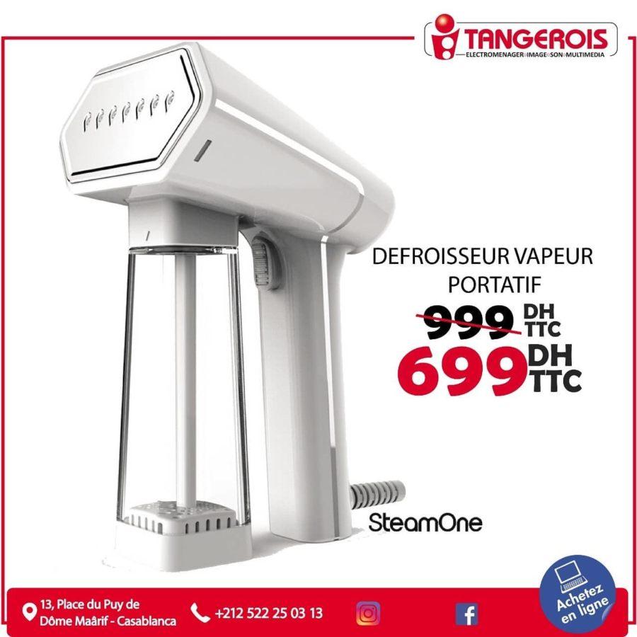 Promo Tangerois Electro Défroisseur vapeur portatif SteamOne 699Dhs au lieu de 999Dhs