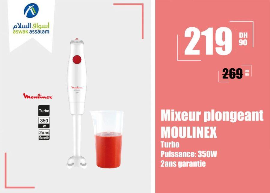 Promo Aswak Assalam Mixeur plongeant MOULINEX 219Dhs au lieu de 269Dhs