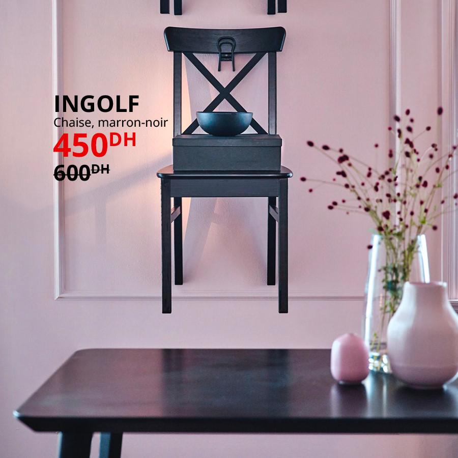 Soldes Ikea Maroc Chaise marron-noir INGOLF 450Dhs au lieu de 600Dhs