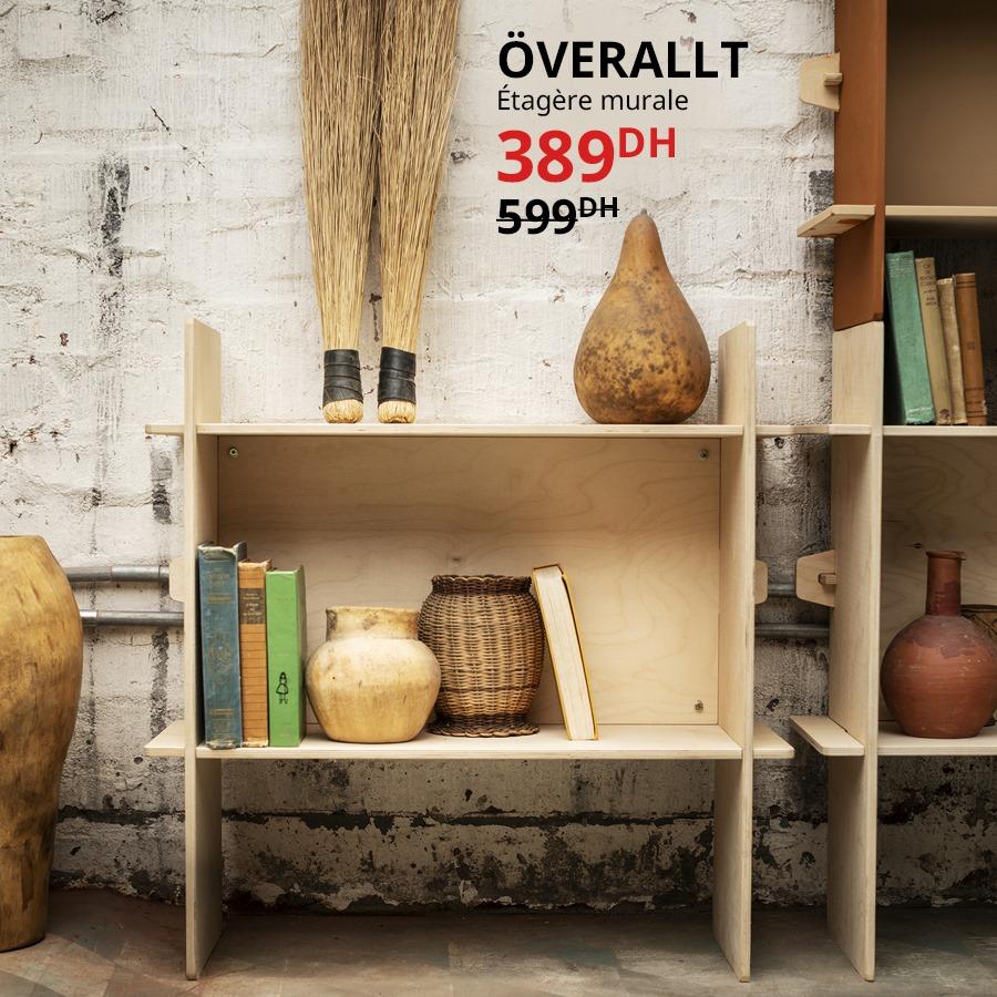 Soldes Ikea Maroc Étagère mural OVERALLT 389Dhs au lieu de 599Dhs