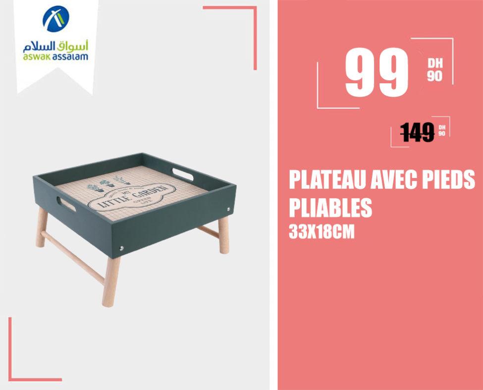 Soldes Aswak Assalam PLATEAU AVEC PIEDS PLIABLES 33X18CM 99Dhs au lieu de 149Dhs