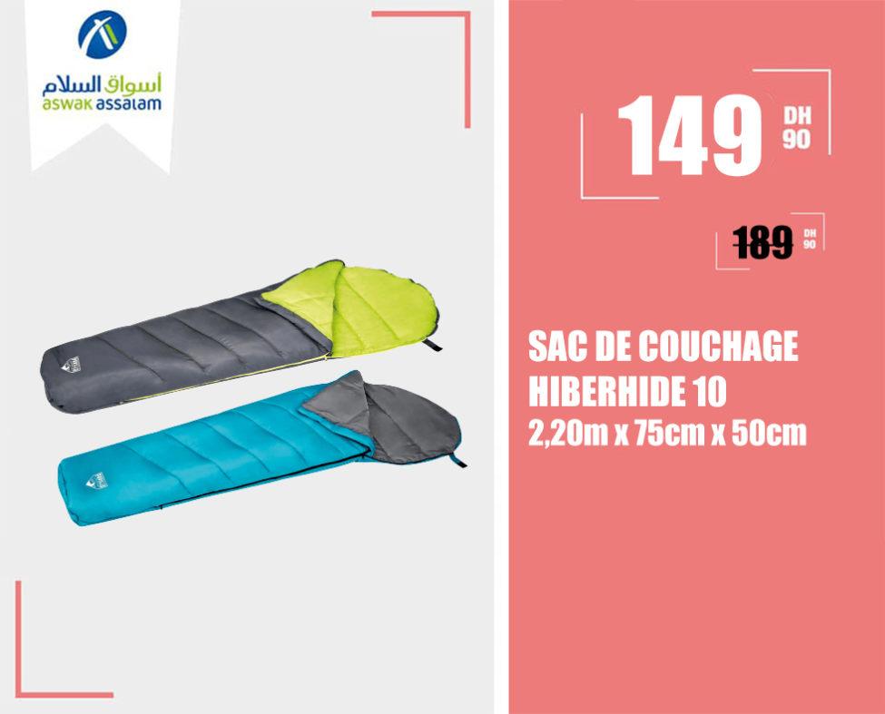 Promo Aswak Assalam SAC DE COUCHAGE HIBERHIDE 10 à 149Dhs au lieu de 189Dhs
