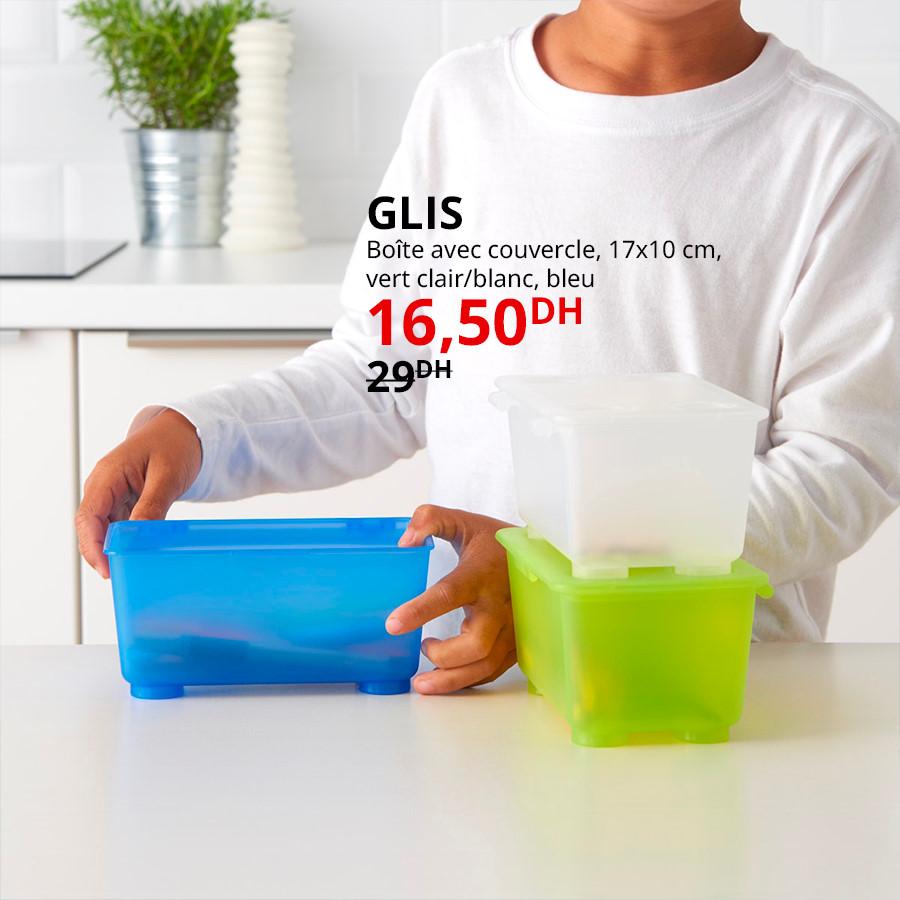 Soldes Ikea Maroc Boîte avec couvercle GLIS 16.50Dhs au lieu de 29Dhs