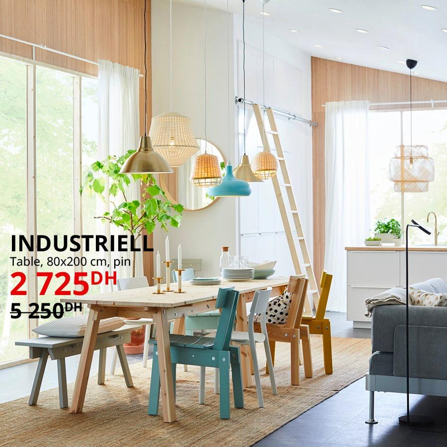 Soldes Ikea Maroc Table INDUSTRELL 2725Dhs au lieu de 5250Dhs