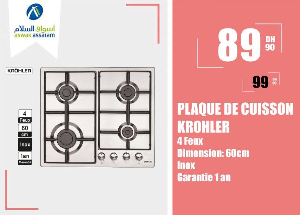 Promo Aswak Assalam PLAQUE DE CUISSON KROHLER 799 Dhs au lieu de 999Dhs