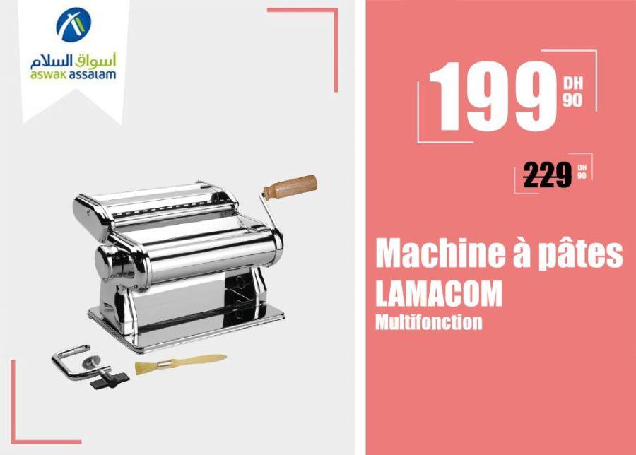 Promo Aswak Assalam Machine à pâtes multifonction LAMACOM 199Dhs au lieu de 229Dhs