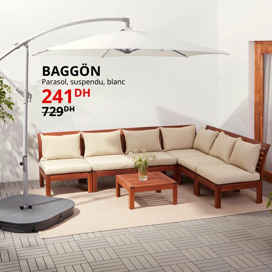 Soldes Ikea Maroc Parasol suspendu blanc BAGGON 241Dhs au lieu de 729Dhs
