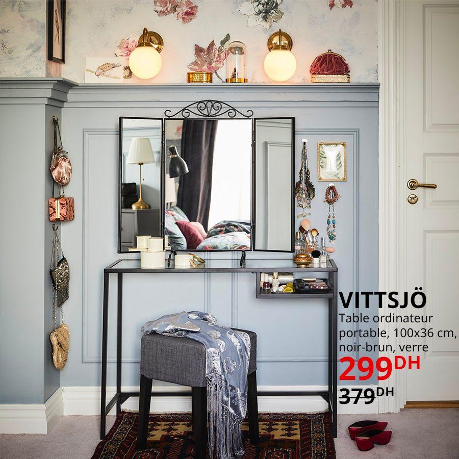Soldes Ikea Maroc Table ordinateur VITTSJO 299Dhs au lieu de 379Dhs