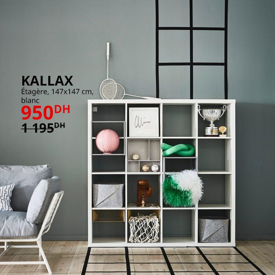 Soldes Ikea Maroc Étagère blanc KALLAX 950Dhs au lieu de 1195Dhs