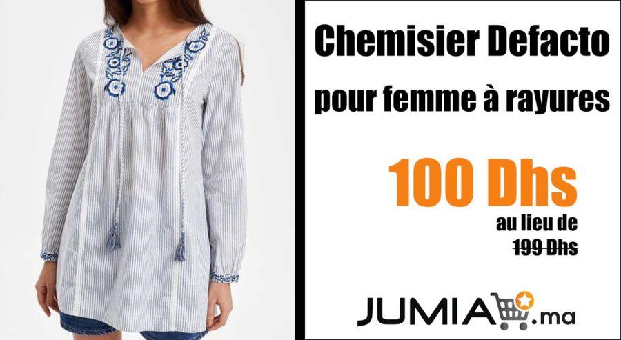 Promo Jumia Chemisier Defacto pour femme à rayures 100Dhs au lieu de 199Dhs