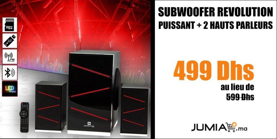 Promo Jumia Subwoofer Revolution Puissant + 2 Hauts parleurs 499Dhs au lieu de 999Dhs