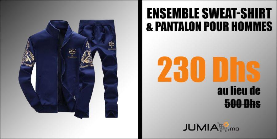 Promo Jumia Ensemble Sweat-Shirt & Pantalon pour Hommes 230Dhs au lieu de 500Dhs