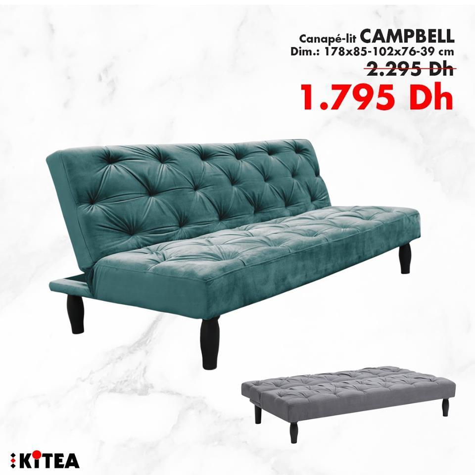 Soldes KITEA Canapé-lit CAMPBELL à 1795Dhs au lieu de 2295Dhs