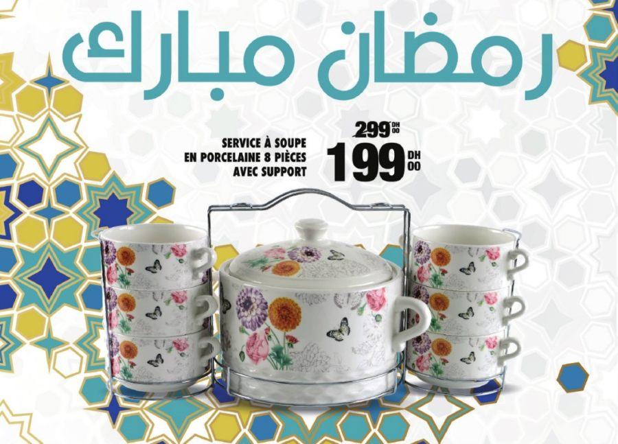 Soldes Aswak Assalam Service à soupe en porcelaine 8 pièces avec support 199Dhs au lieu de 299Dhs