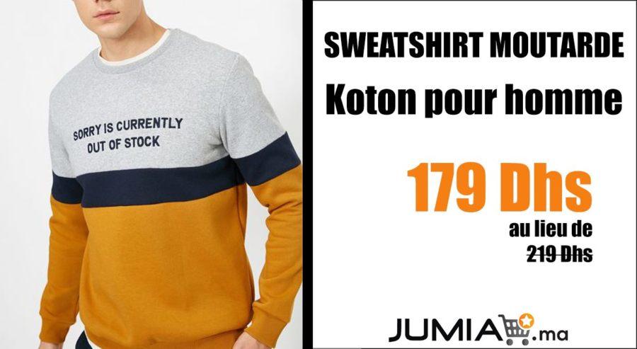 Promo Jumia SWEATSHIRT MOUTARDE Koton Homme 179Dhs au lieu de 219Dhs