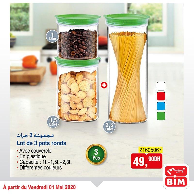 Offre déjà disponible chez Bim Maroc Lot de 3 pots ronds à 49Dhs