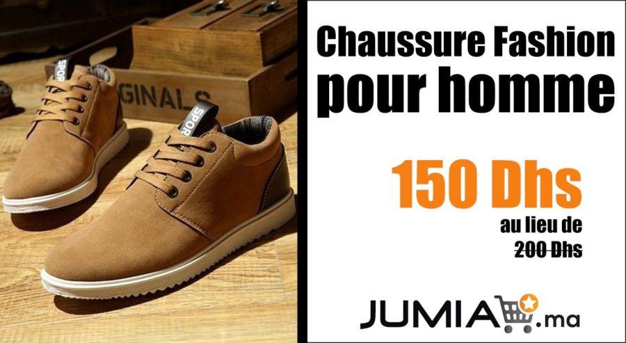Promo Jumia Chaussure Fashion pour homme 150Dhs au lieu de 200Dhs
