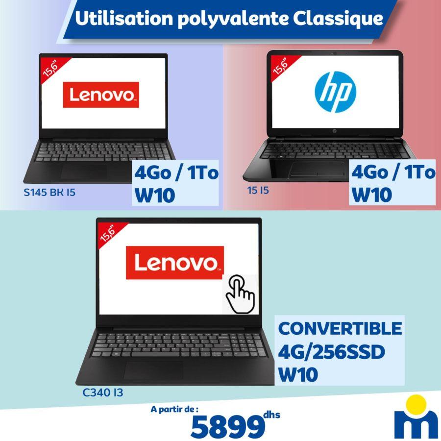 Offre Spéciale Marjane Utilisation Polyvalente classique PC Portable à partir de 5899Dhs