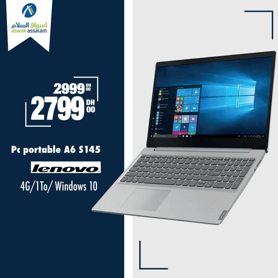 Soldes Aswak Assalam Pc Portable A6 S145 LENOVO 2799Dhs au lieu de 2999Dhs