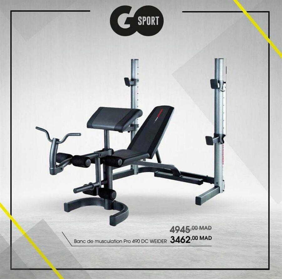 Soldes Go Sport Maroc Banc de musculation Pro 490 DC WEIDER 3462Dhs au lieu de 4945Dhs