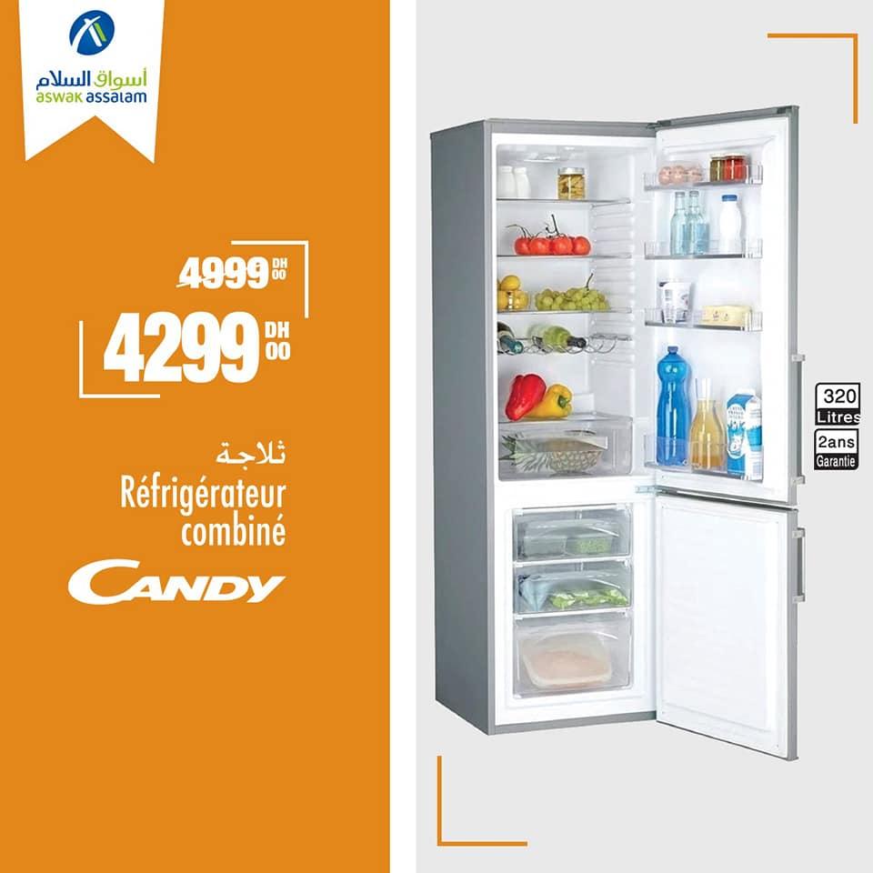 Soldes Aswak Assalam Réfrigérateur combiné CANDY 4299Dhs au lieu de 4999Dhs