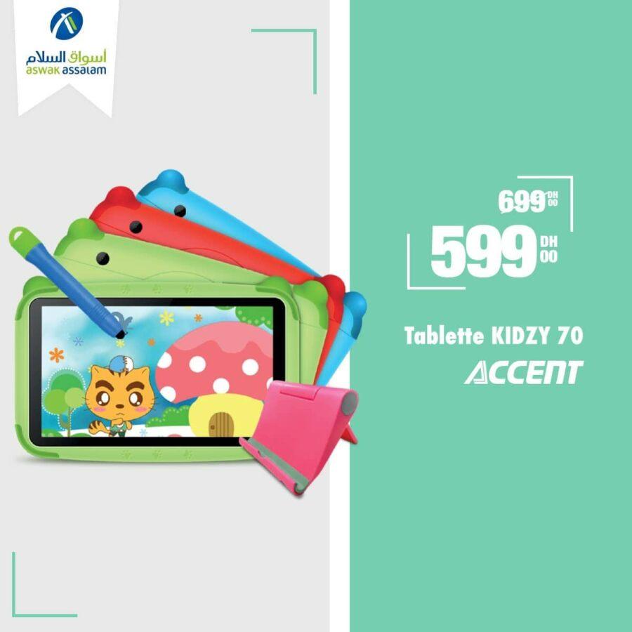 Soldes Aswak Assalam Tablette KIDZY 70 ACCENT 599Dhs au lieu de 699Dhs
