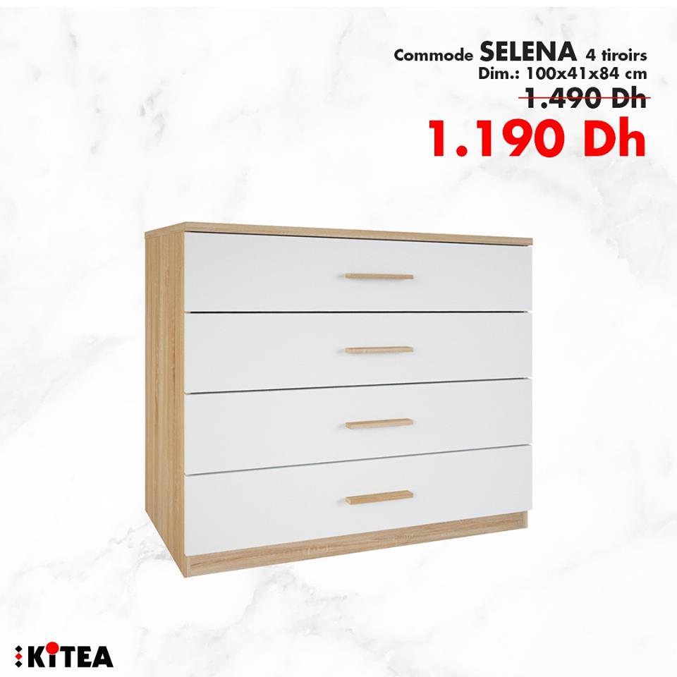 Soldes Kitea Commode SELENA 4 tiroirs 1190Dhs au lieu de 1490Dhs