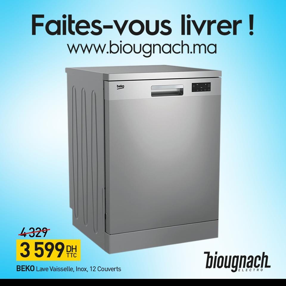 Promo Biougnach Electro Lave-vaisselle 12 Couverts BEKO 3599Dhs au lieu de 4329Dhs