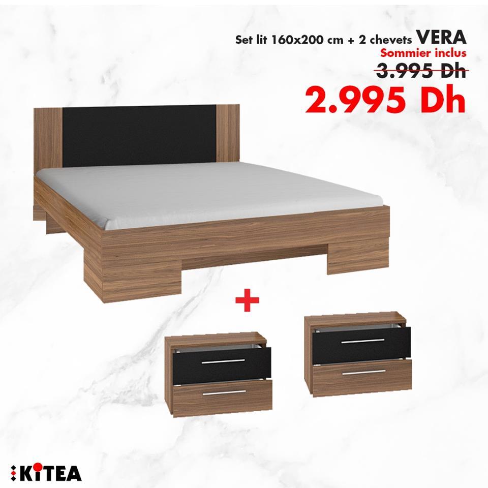 Soldes Kitea Set lit + 2 chevets VERA + Sommier 2995Dhs au lieu de 3995Dhs