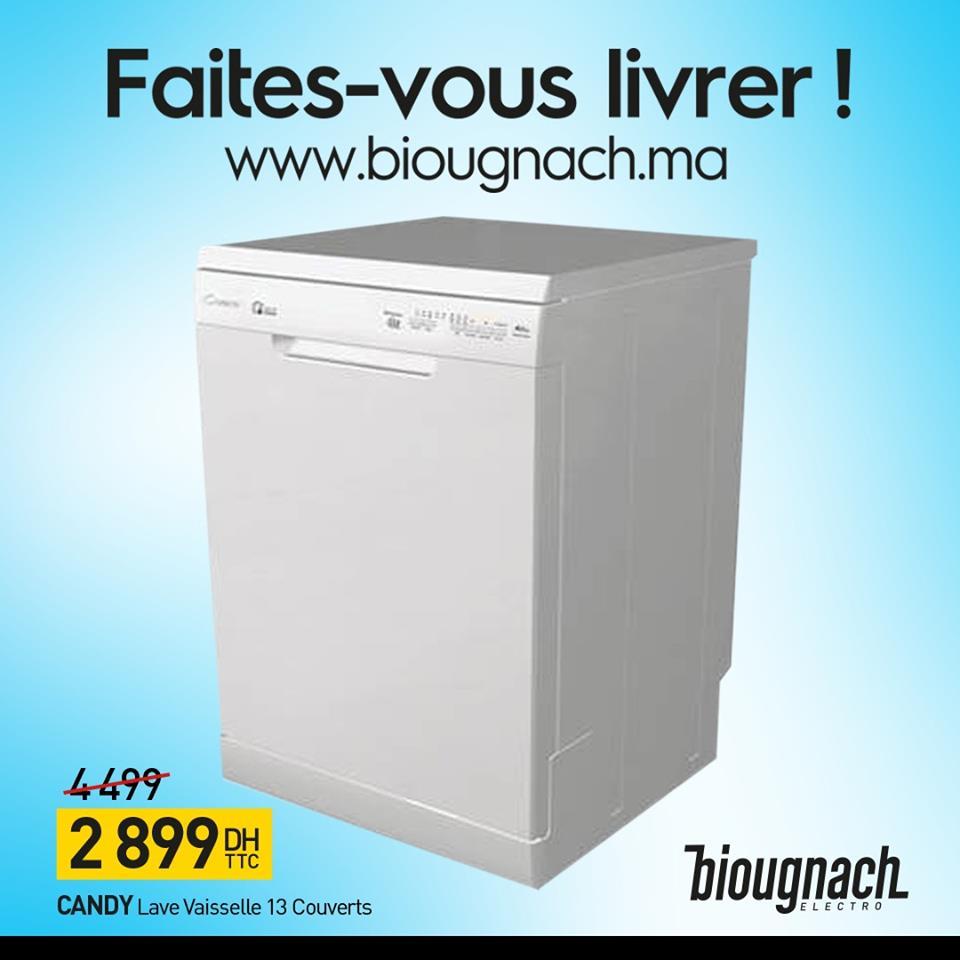 Promo Biougnach Electro Lave-vaisselle 13 Couverts CANDY 2899Dhs au lieu de 4499Dhs