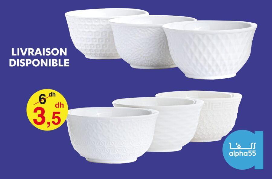 Promo Alpha55 Bol en porcelaine vendu par Pack 12 pièces à 3.5Dhs au lieu de 6Dhs