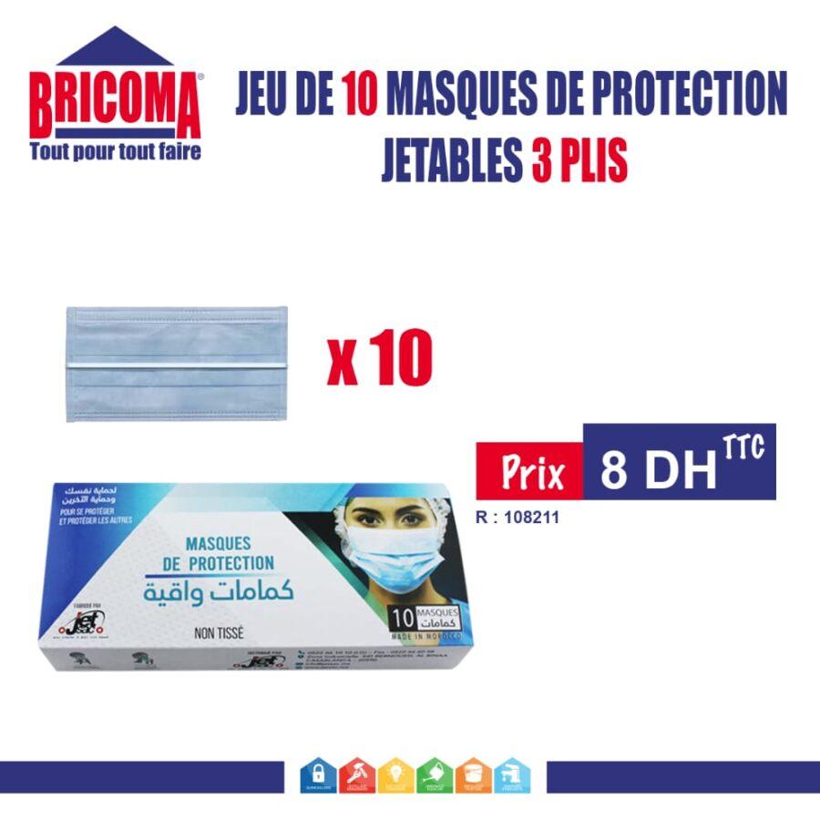 Paquet de 10 masques de protection Jetbles 3 plis chez Bricoma à 8Dhs