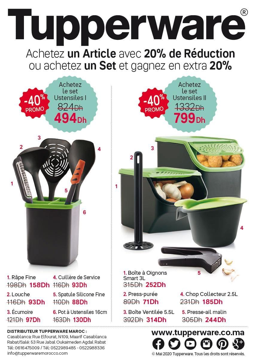 Promo Spéciale Tupperware Maroc 20% de réduction sur divers produits