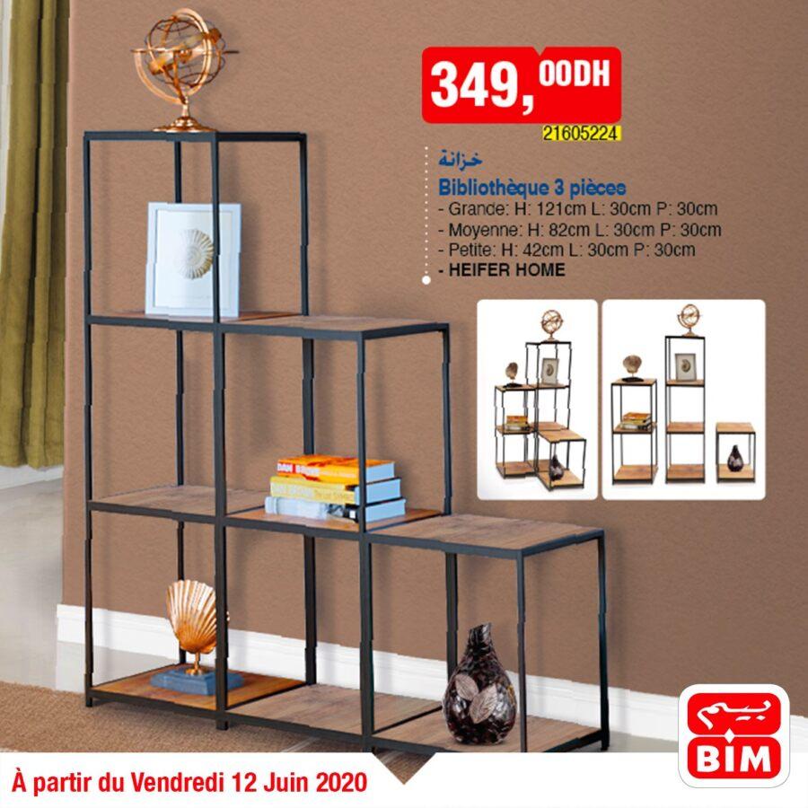Offre déjà disponible dans les magasins Bim Maroc Bibliothèques 3 pièces 349Dhs