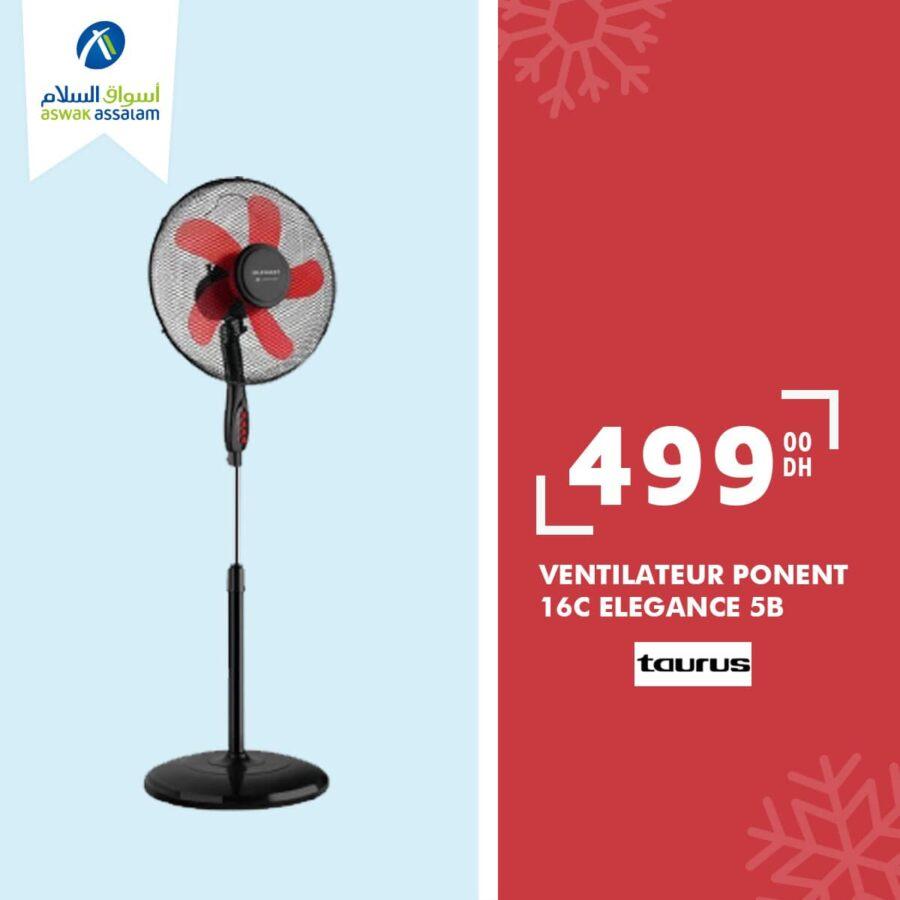 Offre Fraîcheur d'été chez Aswak Assalam divers types de Ventilateurs à partir de 499Dhs