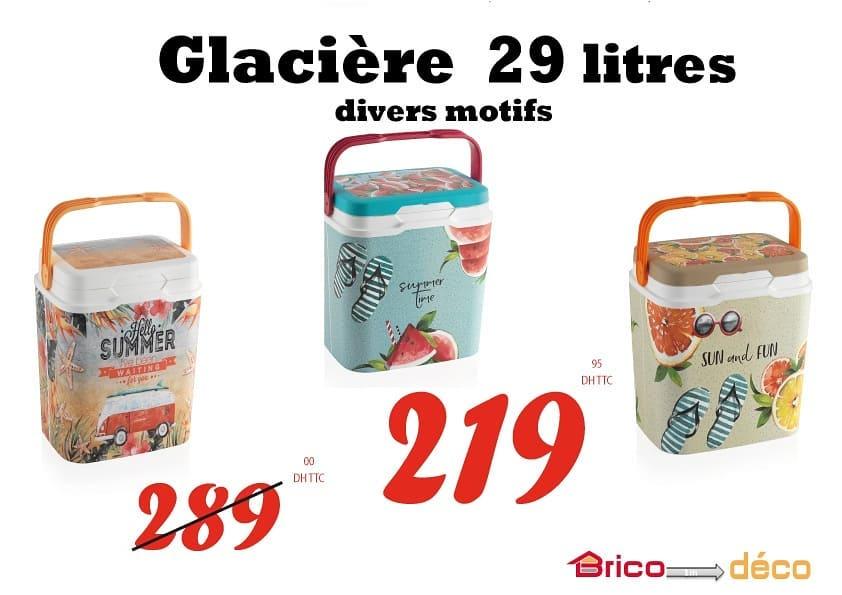 Offre fraîcheur Bricodéco Maroc Glacière 29 litres divers motifs 219Dhs au lieu de 289Dhs