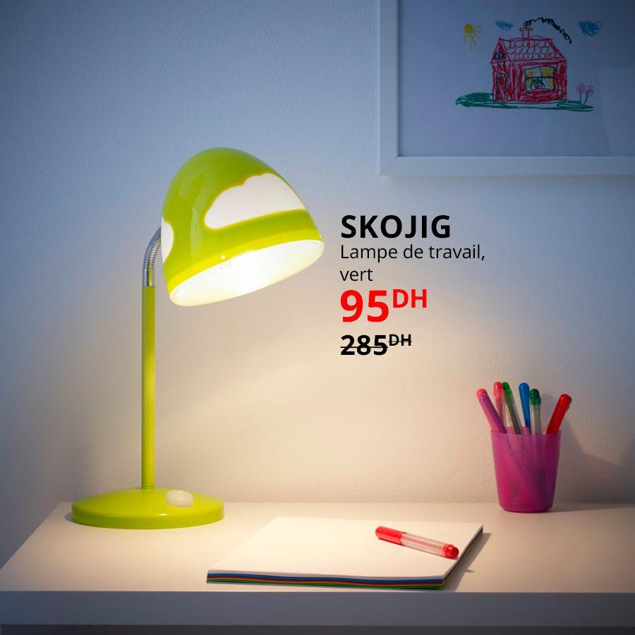 Soldes chez Ikea Maroc Lampe de travail vert SKOJIG 95Dhs au lieu de 285Dhs