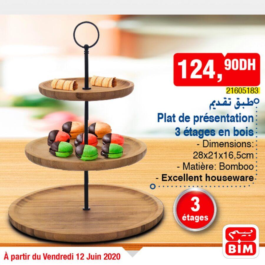 Offre déjà disponible dans les Magasins Bim Maroc Plat de présentation 3 étages en bois 124Dhs
