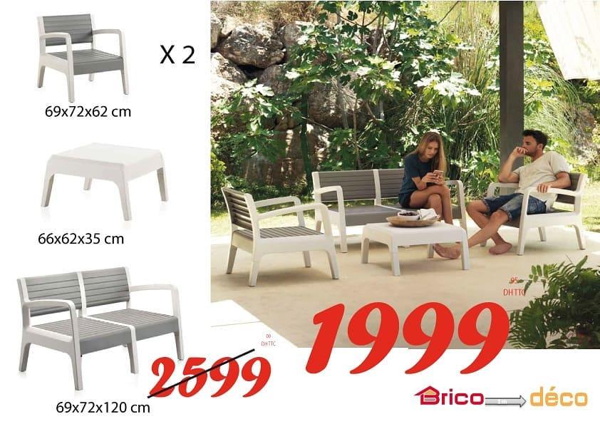 Offre Détente Bricodéco Maroc Salon de jardin MIAMI 1999Dhs au lieu de 2599Dhs